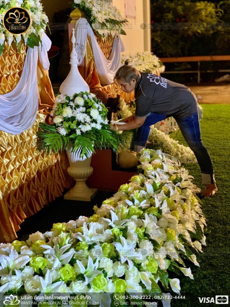 ผลงานประดับดอกไม้แห้ง เมรุวัดมณีสรรค์ - งานคุณพ่ออนงค์ พันธเสน 35
