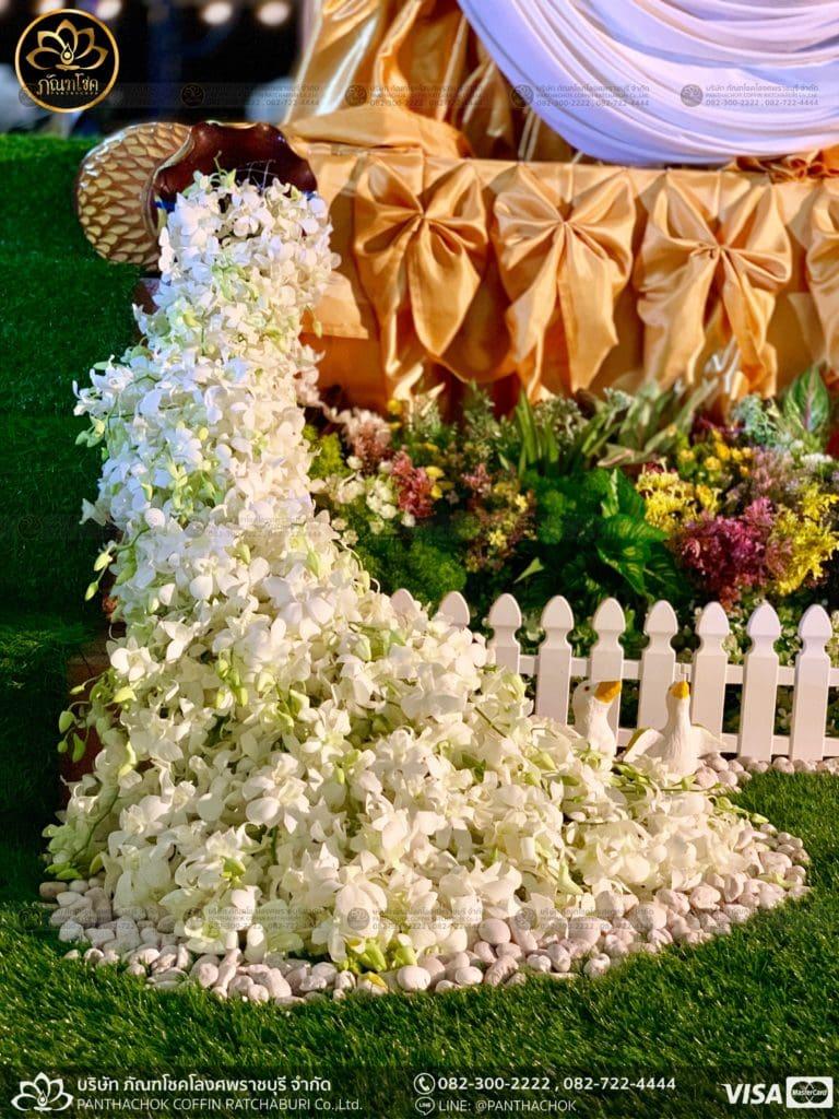 ผลงานประดับดอกไม้แห้ง เมรุวัดมณีสรรค์ - งานคุณพ่ออนงค์ พันธเสน 10