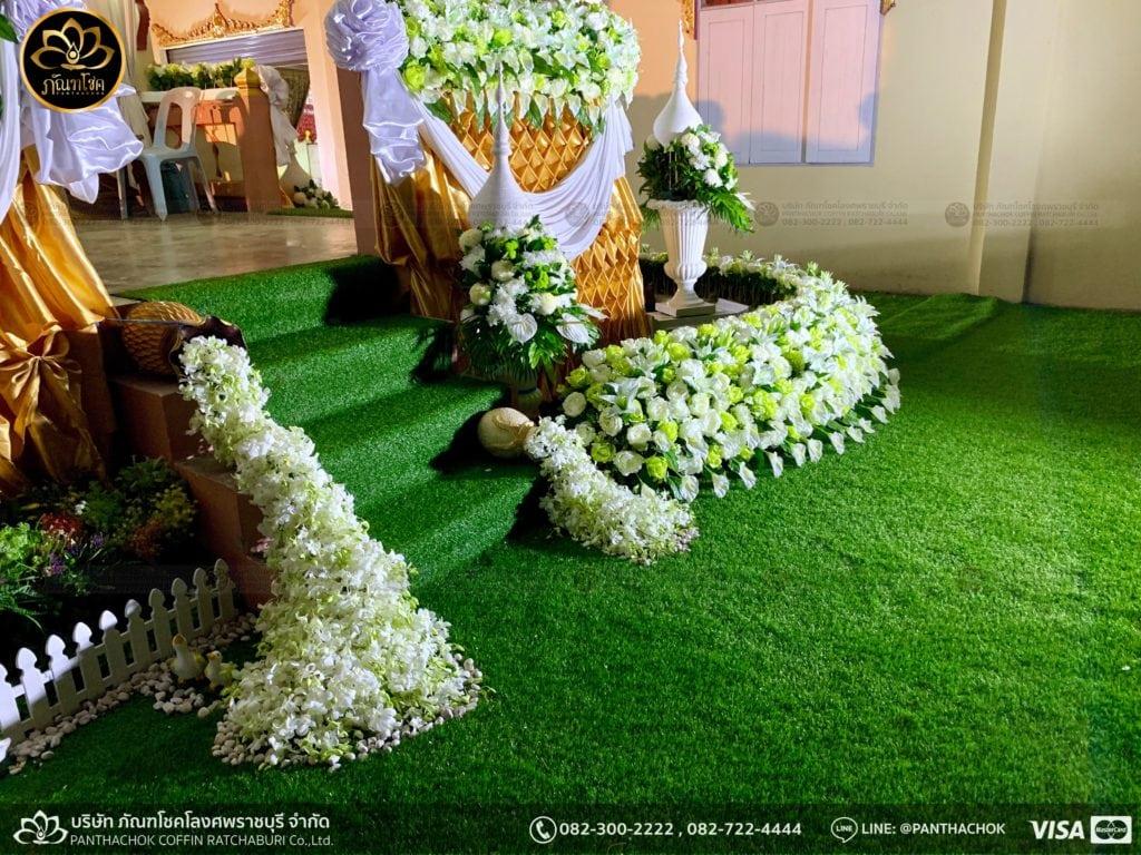 ผลงานประดับดอกไม้แห้ง เมรุวัดมณีสรรค์ - งานคุณพ่ออนงค์ พันธเสน 2
