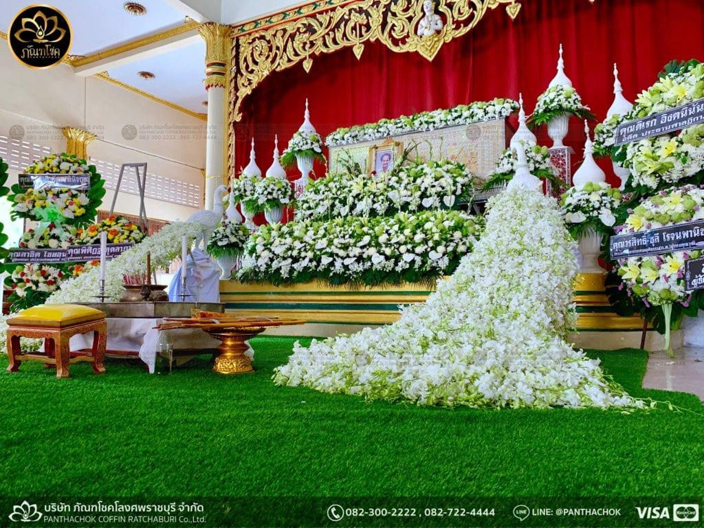 ผลงานจัดดอกไม้ งานศพญาตผู้ใหญ่ครอบครัวโรจนพานิช 1
