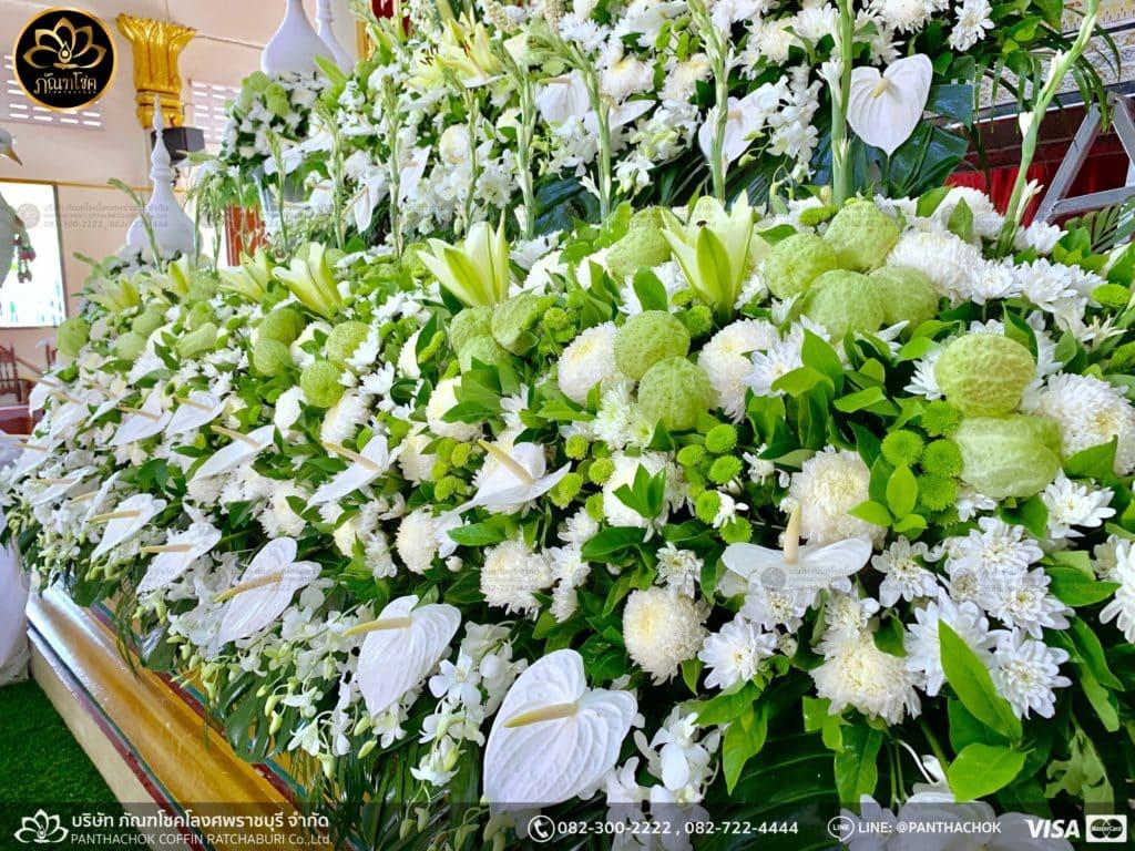 ผลงานจัดดอกไม้ งานศพญาตผู้ใหญ่ครอบครัวโรจนพานิช 4