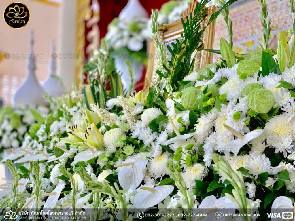 ผลงานจัดดอกไม้ งานศพญาตผู้ใหญ่ครอบครัวโรจนพานิช 6