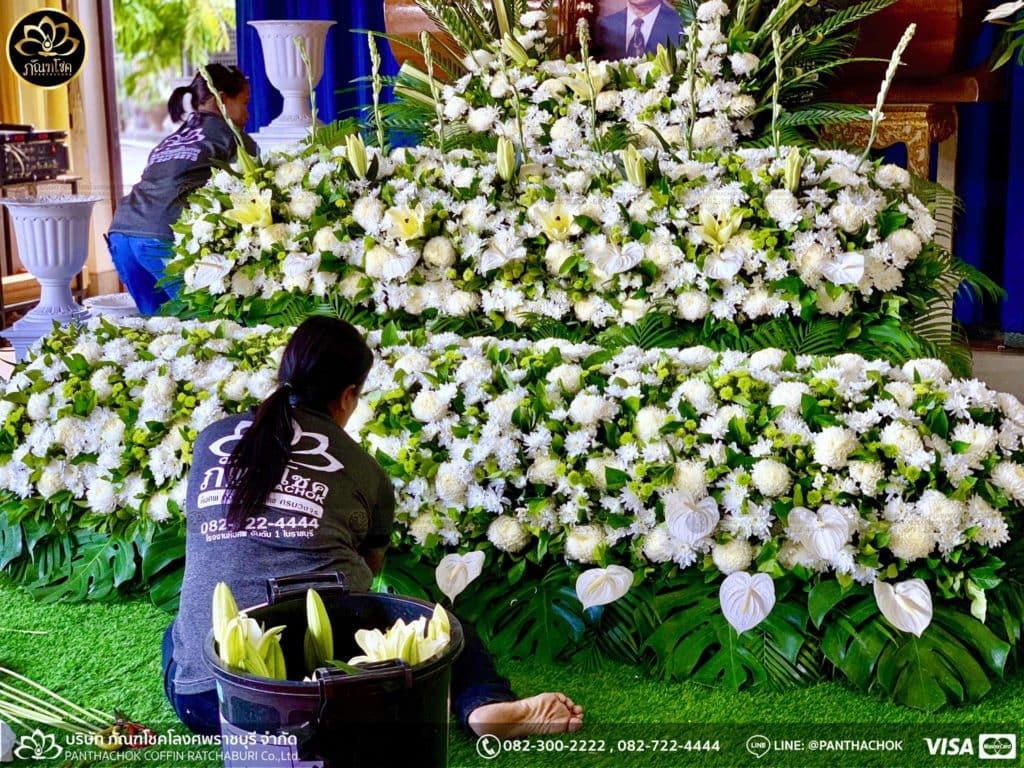 ผลงานจัดดอกไม้หน้าศพ วัดศรีสุริยวงศาราม จ.ราชบุรี 3