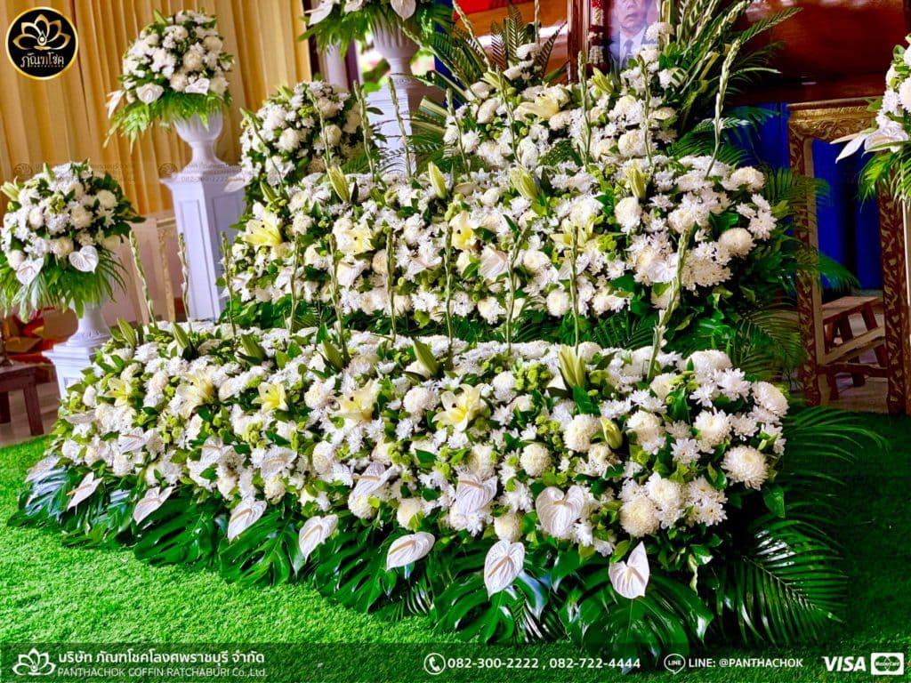 ผลงานจัดดอกไม้หน้าศพ วัดศรีสุริยวงศาราม จ.ราชบุรี 8