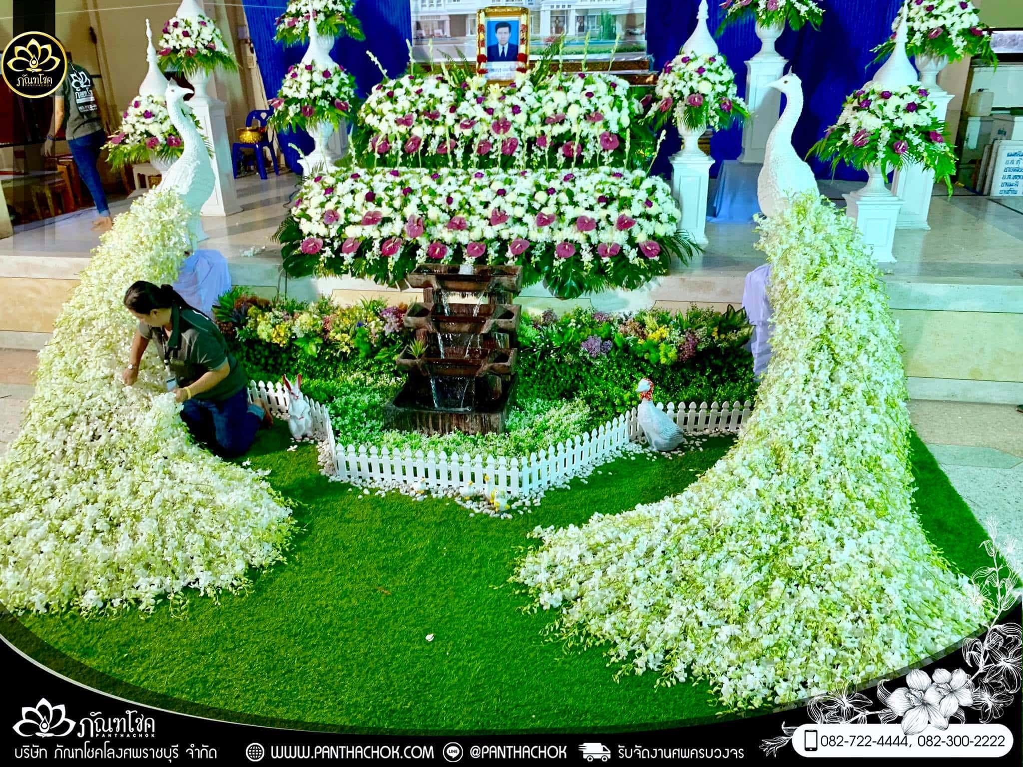ผู้ให้บริการจัดดอกไม้งานศพ อันดับ 1 ในราชบุรี (ผลงานวัดวันดาว อ.ปากท่อ) 1