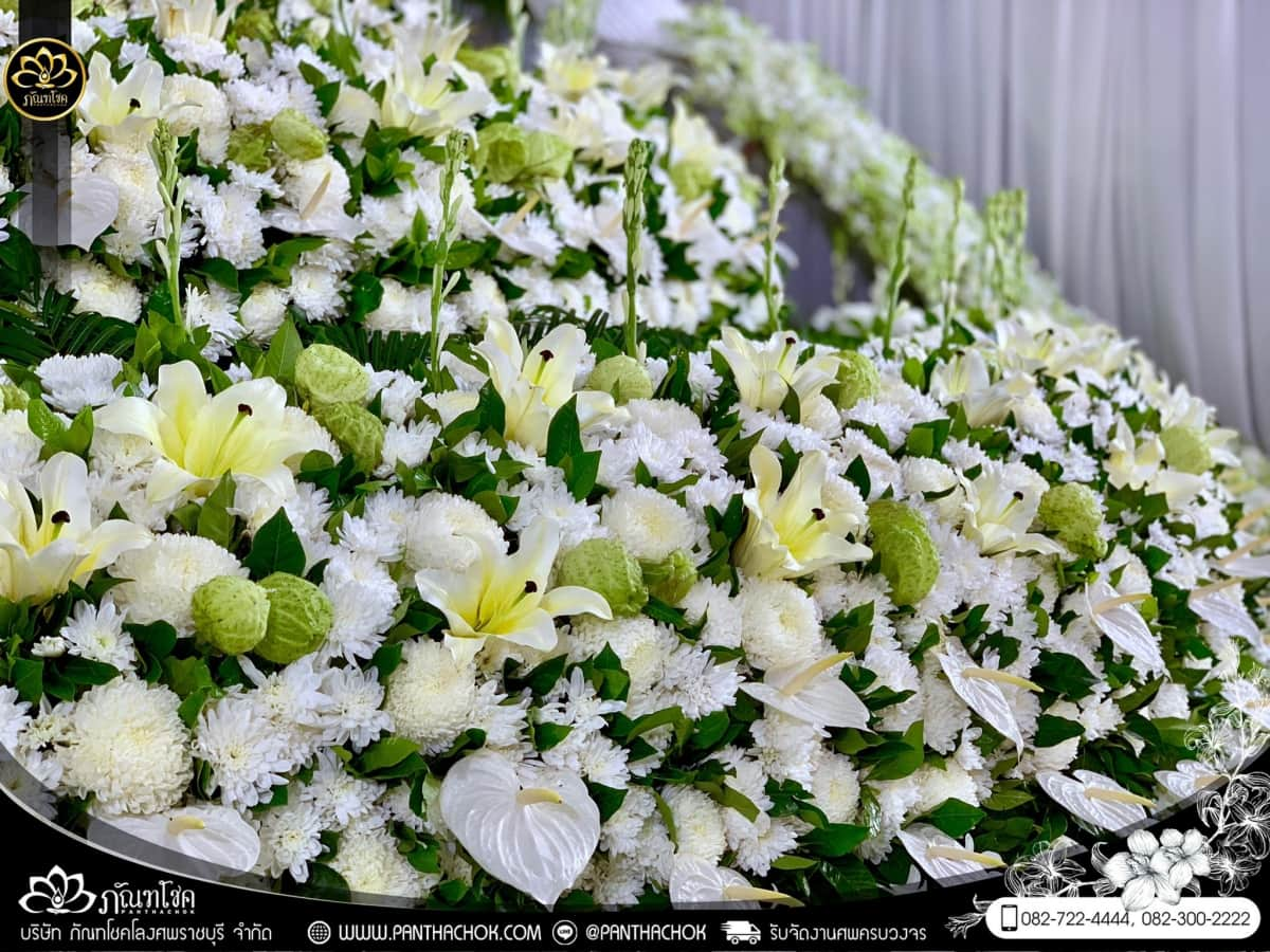 ดอกไม้หน้าหีบศพแบบจีน (จัดงานที่บ้าน) อ.ปากท่อ จ.ราชบุรี 6
