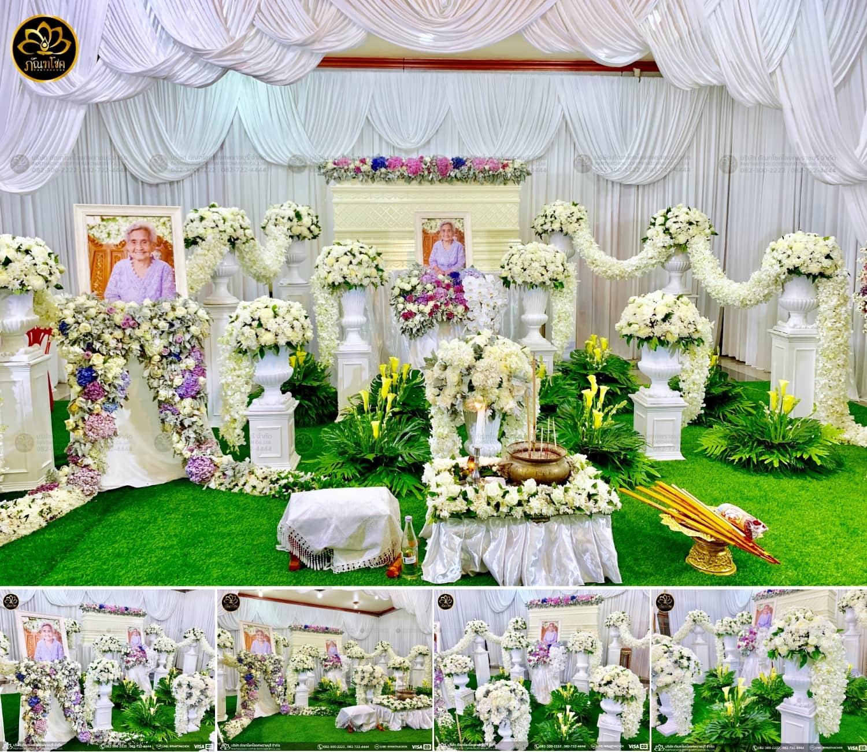 ดอกไม้หน้าหีบ ดอกไม้หน้าหีบสวยงาม ดอกไม้งานศพโทนสีขาว