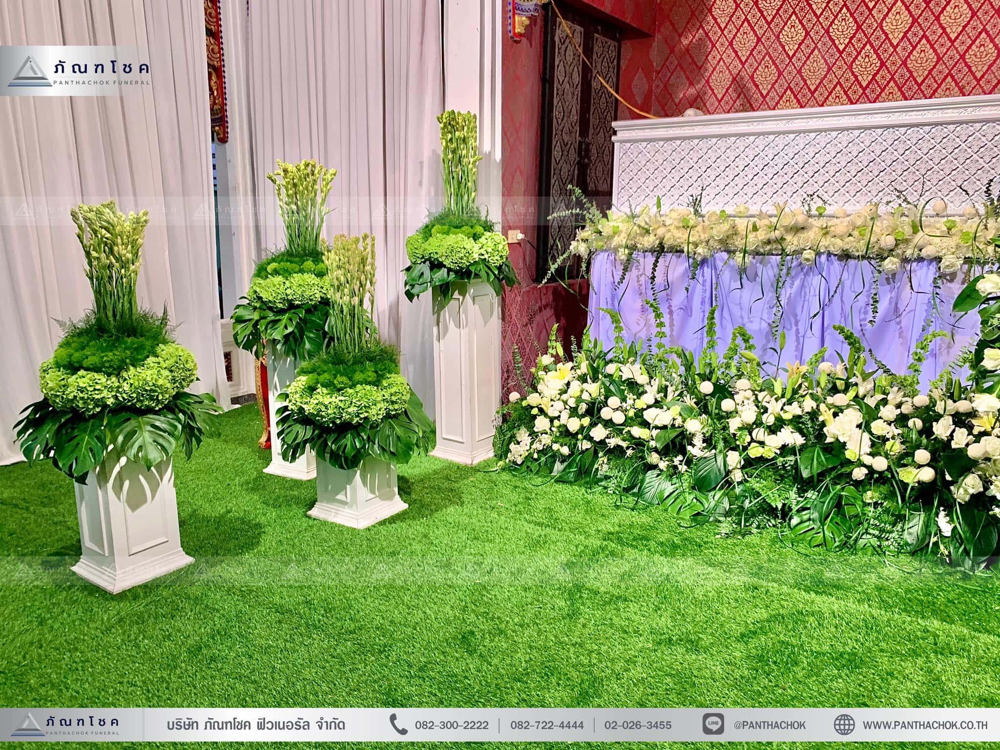 ดอกไม้งานศพในโทนสีขาว-เขียว แนวเรียบหรู รูปแบบแปลกใหม่ 4