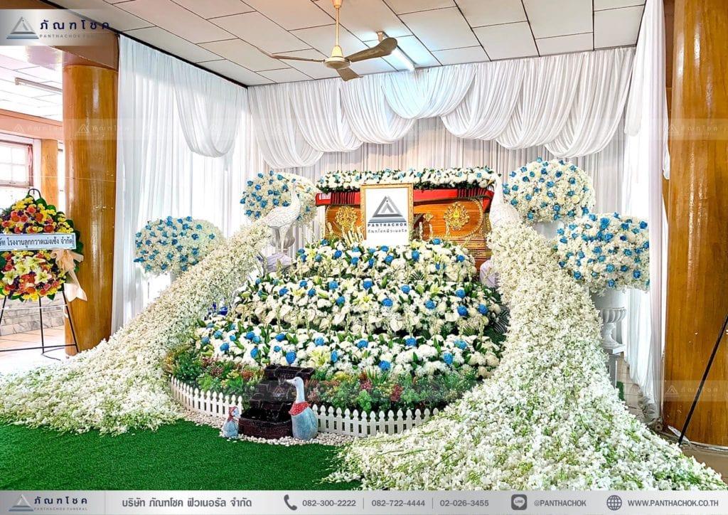 ดอกไม้งานศพสมุทรสงคราม ดอกไม้งานศพสวยงาม ดอกไม้หน้าหีบ