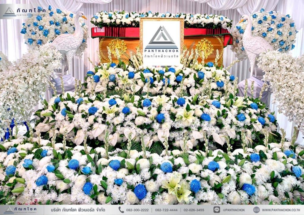 ดอกไม้งานศพสมุทรสงคราม ดอกไม้ประดับหน้าโลง ดอกไม้สด