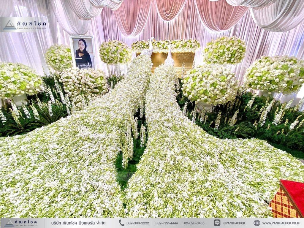 ดอกไม้ชุดนกยูงโทนสีขาว จัดดอกไม้สวยๆ