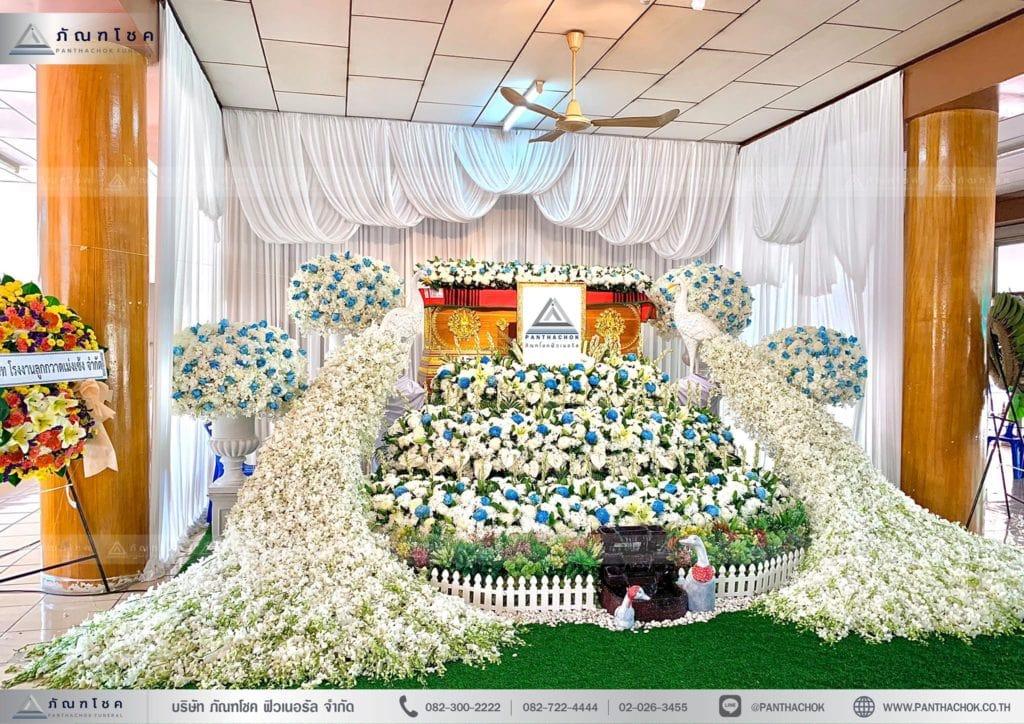 ดอกไม้งานศพสมุทรสงคราม ดอกไม้ประดับงานศพ ดอกไม้หน้าหีบ จัดดอกไม้ราชุบรี