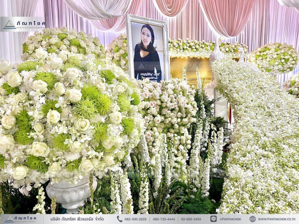 ดอกไม้งานศพ ชุดนกยูงหรูหรา