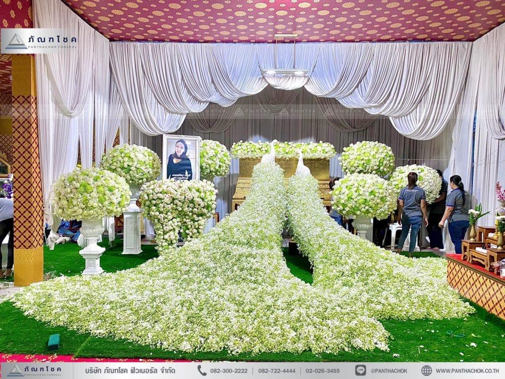 ดอกไม้ประดับหน้าหีบนกยูง ดอกไม้งานศพ