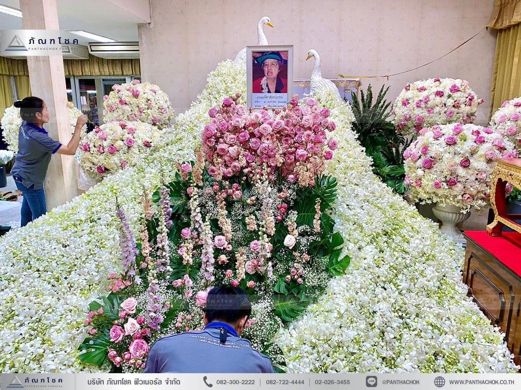 ดอกไม้งานศพ นกยูงคู่ ชมพูขาว
