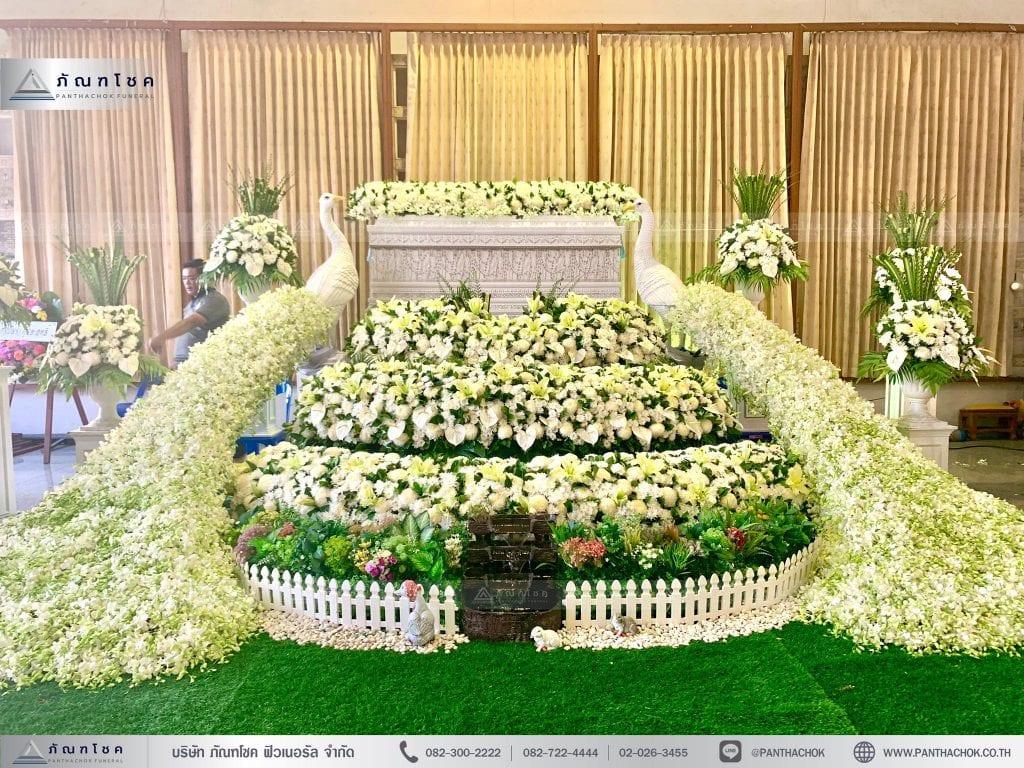 ดอกไม้งานศพ นกยูง เชิงดอกไม้3ชั้น