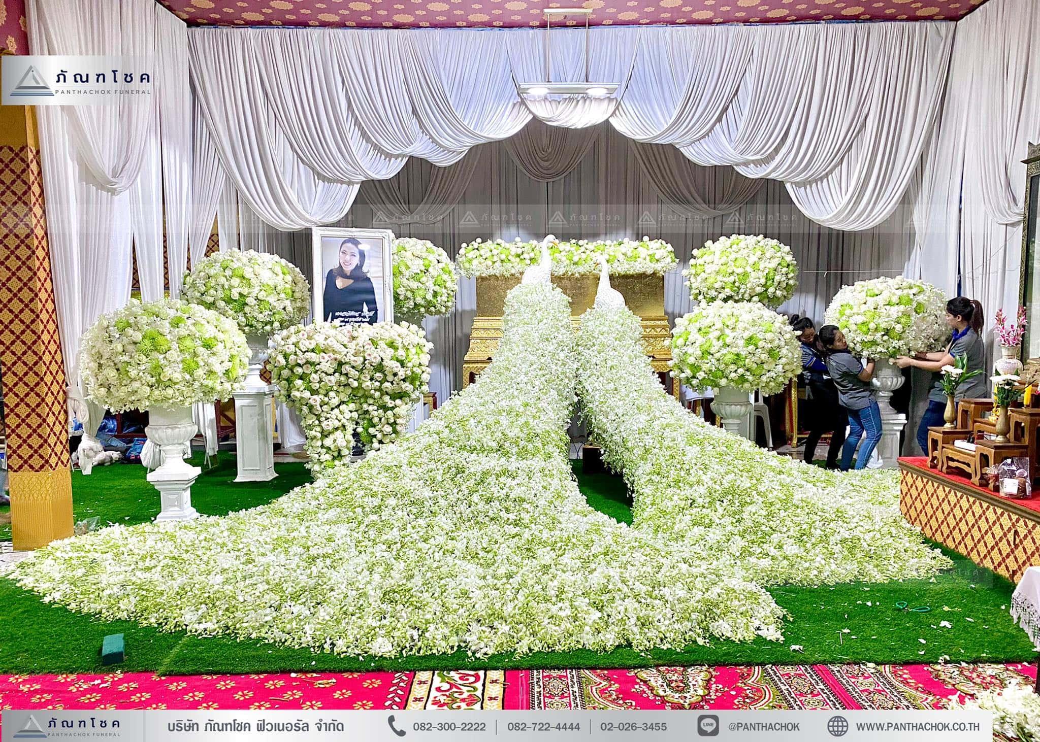 ดอกไม้หน้าศพชุดนกยูงำรูหรา สวยงาม จัดดอกไม้ราชบุรี