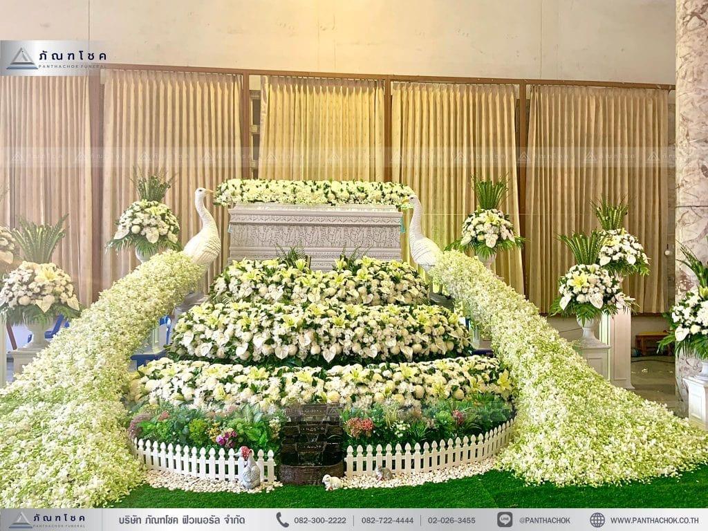 ชุดสวนดอกไม้งานศพ ดอกไม้งานศพหรูหรา จัดงานศพราชบุรี