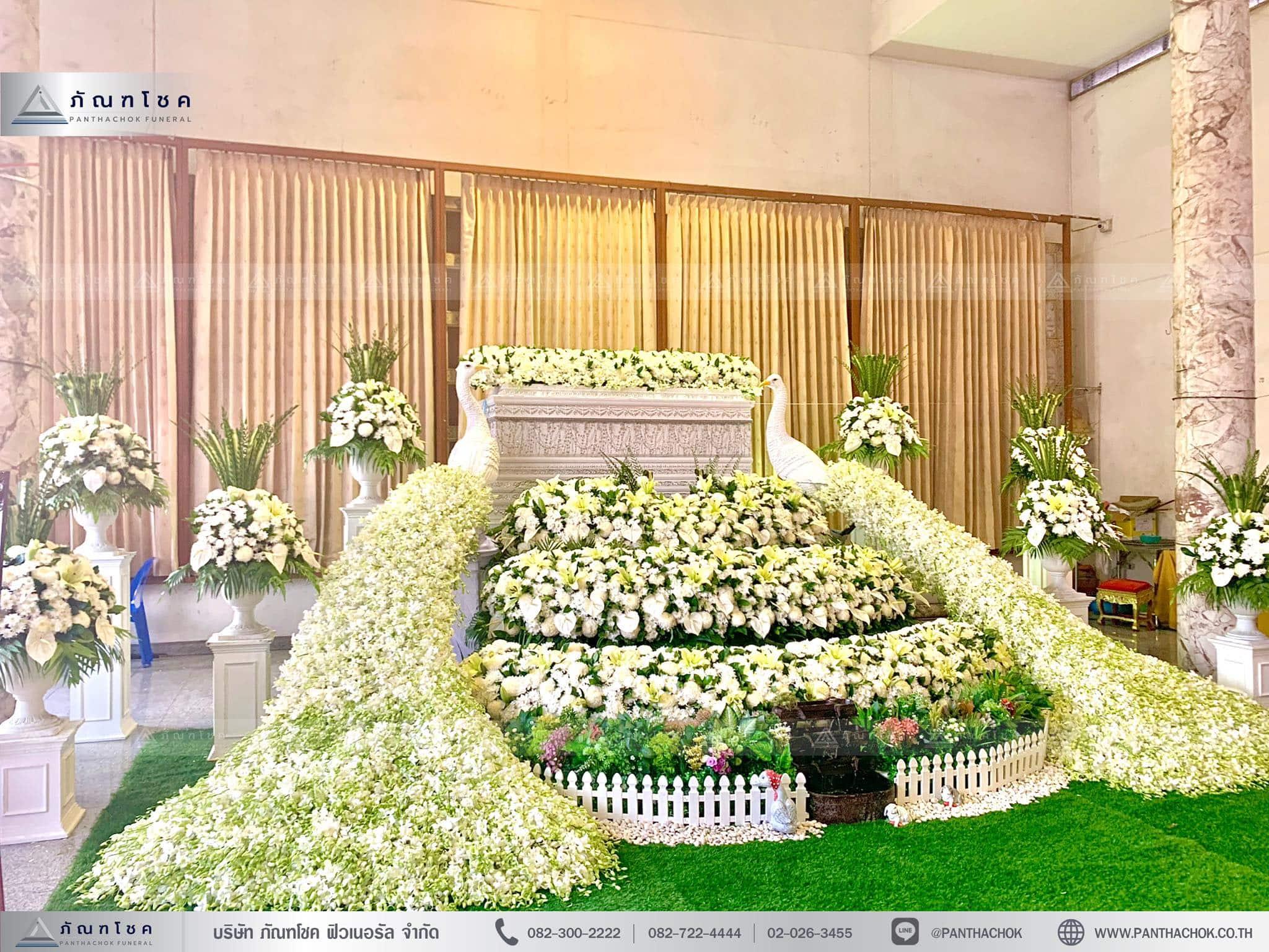 ดอกไม้งานศพพุ่มประดับ นกยูง