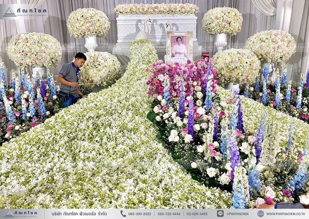 ดอกไม้ประดับหน้าโลงศพ ดอกไม้สดต่างประเทศ จัดดอกไม้งานศพทั่วประเทศ