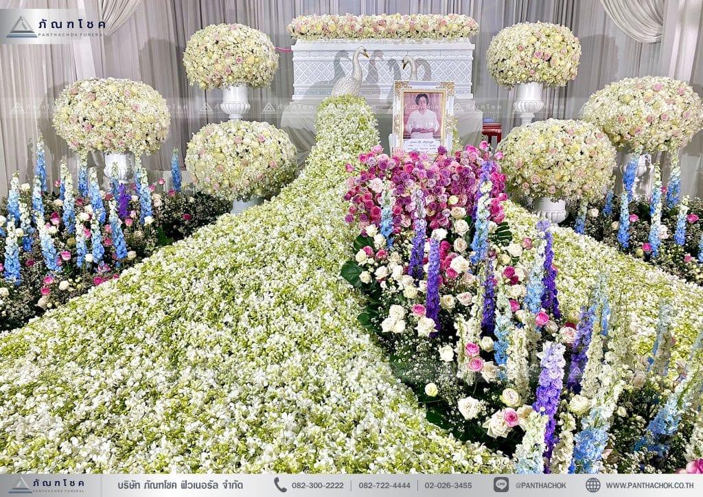 ดอกไม้งานศพ ดอกไม้ประดับหน้าหีบ นกยูง