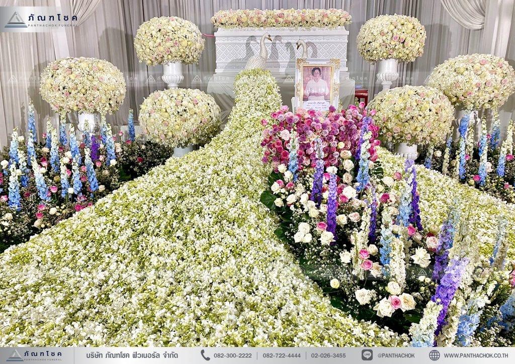 ดอกไม้ชุดนกยูง พุ่มดอกไม้ จัดงานศพราชบุรี