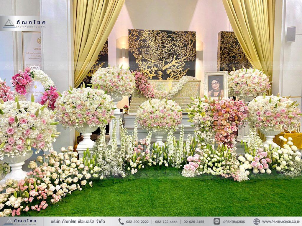 ดอกไม้ประดับหน้าหีบชุดพุ่มดอกไม้ ดอกไม้งานศพราชบุรี