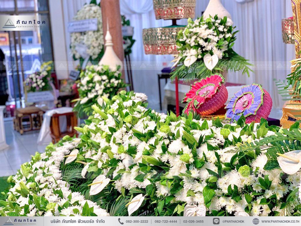ดอกไม้งานศพนครปฐม ดอกไม้หน้าหีบ ดอกไม้3ชั้น