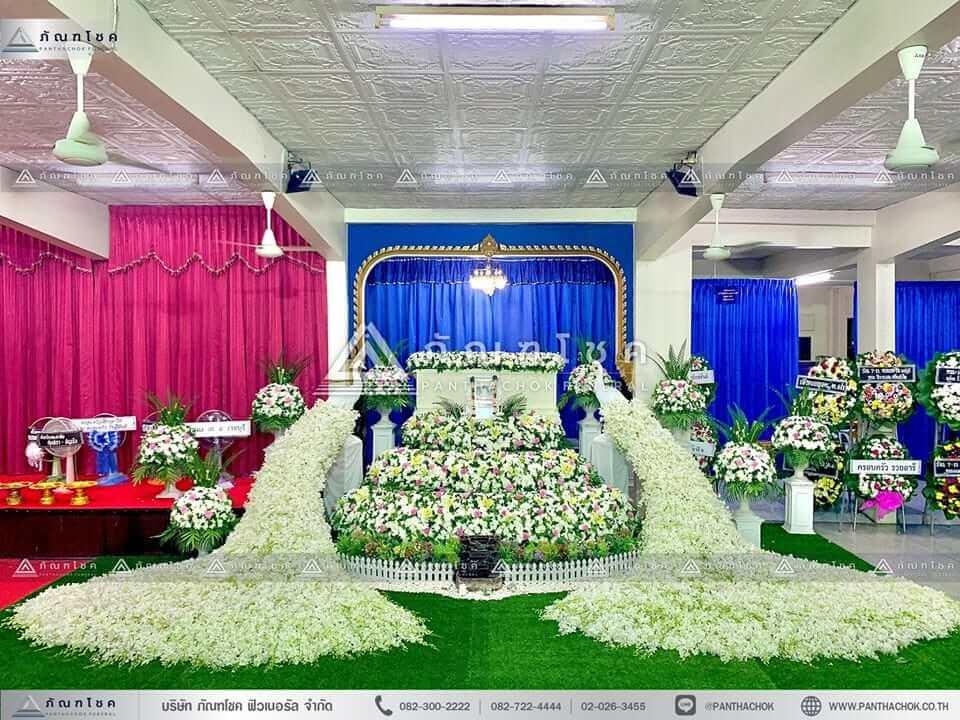 ดอกไม้งานศพนครปฐม ดอกไม้งานศพ ดอกไม้ประดับหน้าหีบ นกยูง
