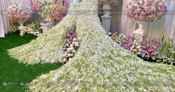 ดอกไม้สดหน้าศพกรุงเทพ นกยูงประดับหน้าหีบศพ ดอกไม้หน้าศพสีขาว ชมพู
