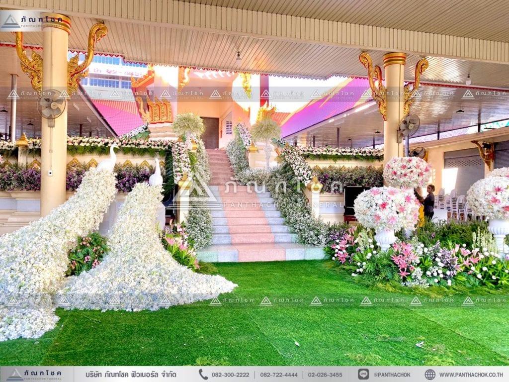 ดอกไม้สดประดับเมรุ ดอกไม้โทนขาวชมพู ดอกไม้เมรุ รับจัดดอกไม้เมรุ