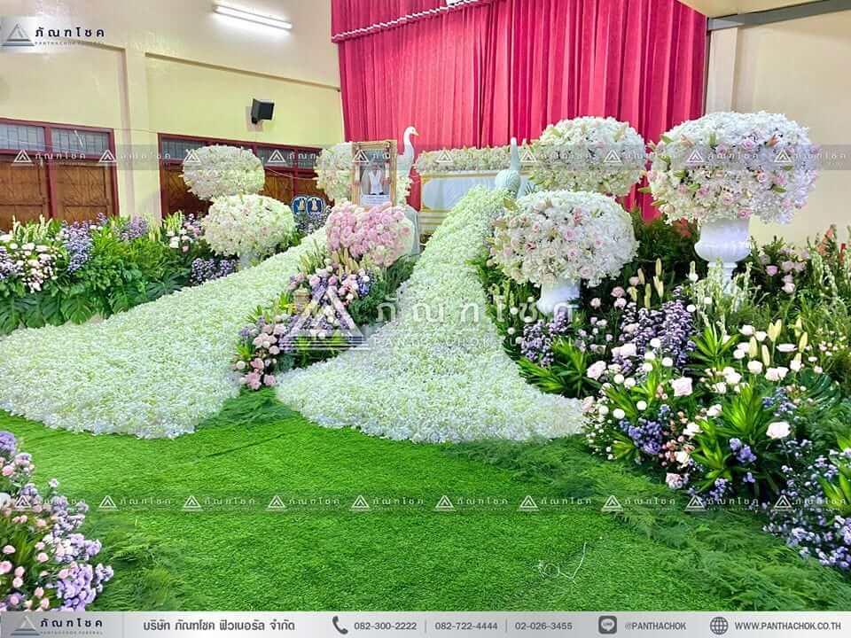 ดอกไม้สดหน้าศพ พุ่มดอกไม้สดขนาดใหญ่ จัดงานดอกไม้หน้าศพกรุงเทพ สวนดอกไม้