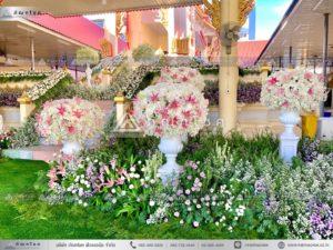 ดอกไม้สดประดับเมรุ พุ่มดอกไม้สด ดอกไม้สดทรงกลม ดอกไม้โทนสีขาวชมพู