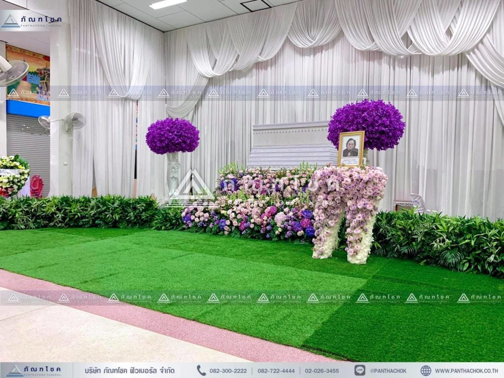 ดอกไม้สดหน้าศพ ณ วัดบ้านทวน ดอกไม้ในงานศพ ดอกไม้หน้าศพ รับจัดงานศพ โลงศพ ดอกไม้สดสีชมพู