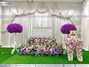ดอกไม้สดหน้าศพ ณ วัดบ้านทวน ดอกไม้สดหน้าศพ ดอกไม้งานศพ ดอกไม้โทนสีม่วงชมพู