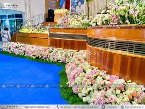 ดอกไม้งานศพแบบคริสต์ ดอกไม้หน้ารูป ดอกไม้หน้าพิธี ดอกไม้สดงานศพ