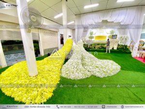 นกยูงงานศพ วัดไทร นครปฐ ดอกไม้งานศพแบบสวน จัดสวนสวยๆในงานศพ ร้านดอกไม้งานศพดารา