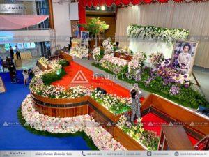 ดอกไม้งานศพแบบคริสต์ ดอกไม้หน้ารูป รับจัดฉากดอกไม้งานศพ