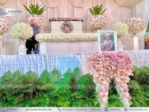 ดอกไม้หน้าหีบศพสีชมพู วัดประชาโฆสิตาราม ดอกไม้หน้ากรอบรูปสีชมพู