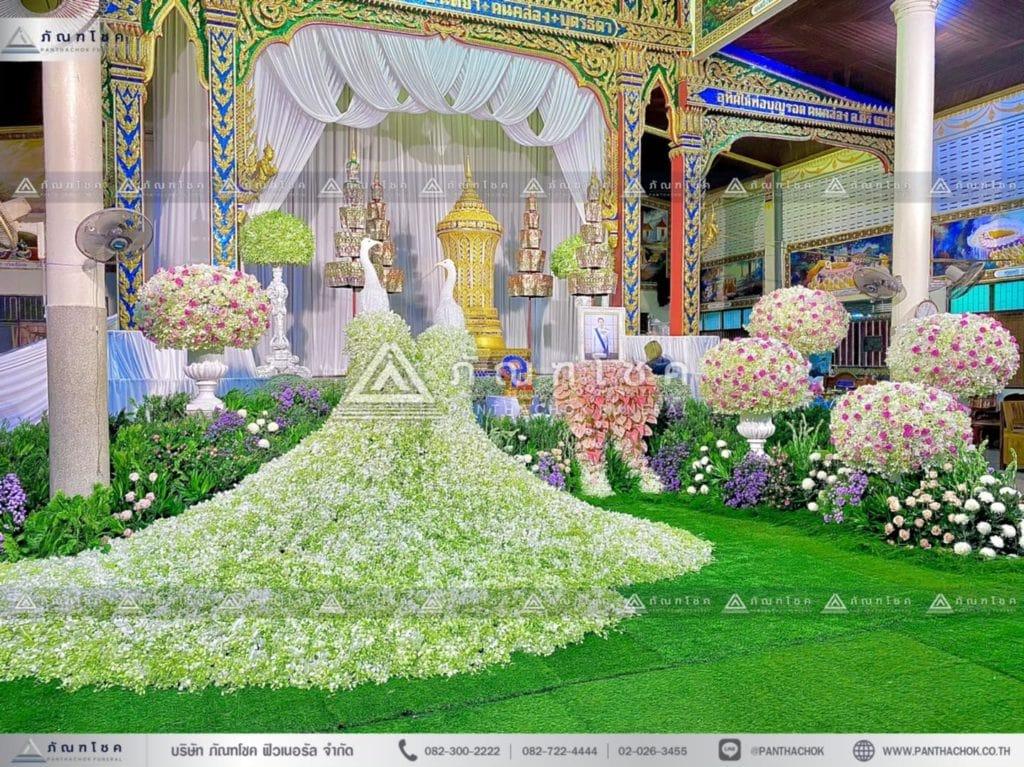 ดอกไม้หน้าโกศพระราชทาน โทนสีชมพู จัดงานศพเพชบุรี ดอกไม้หน้าศพประจวบคีรีขันธ์