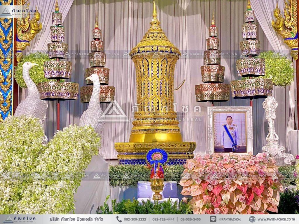ดอกไม้หน้าโกศพระราชทาน โทนสีชมพู