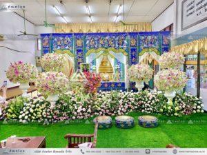 ดอกไม้หน้าหีบศพแบบจีน ดอกไม้งานศพโทนสีขาว รับจัดดอกไม้หน้าฉากกงเต๊ก ดอกไม้สดหน้าศพ ดอกไม้งานศพวัดดัง