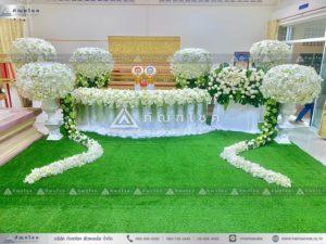 ดอกไม้งานศพแบบพุ่ม โทนสีขาว