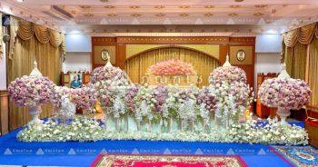 ดอกไม้หน้าศพหรูหราแบบพุ่ม โทนสีชมพู จัดดอกไม้หน้าศพสวยหรู ดอกไม้หน้าศพวัดโสมนัส