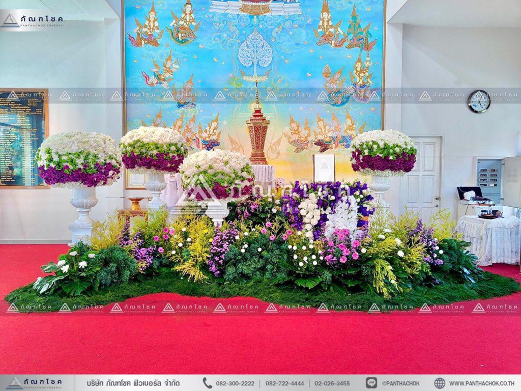 ดอกไม้หน้าโกศใส่อัฐิแบบโมเดิร์น พร้อมจัดสวนประดับงานศพ จัดดอกไม้งานศพโทนสีม่วง 10