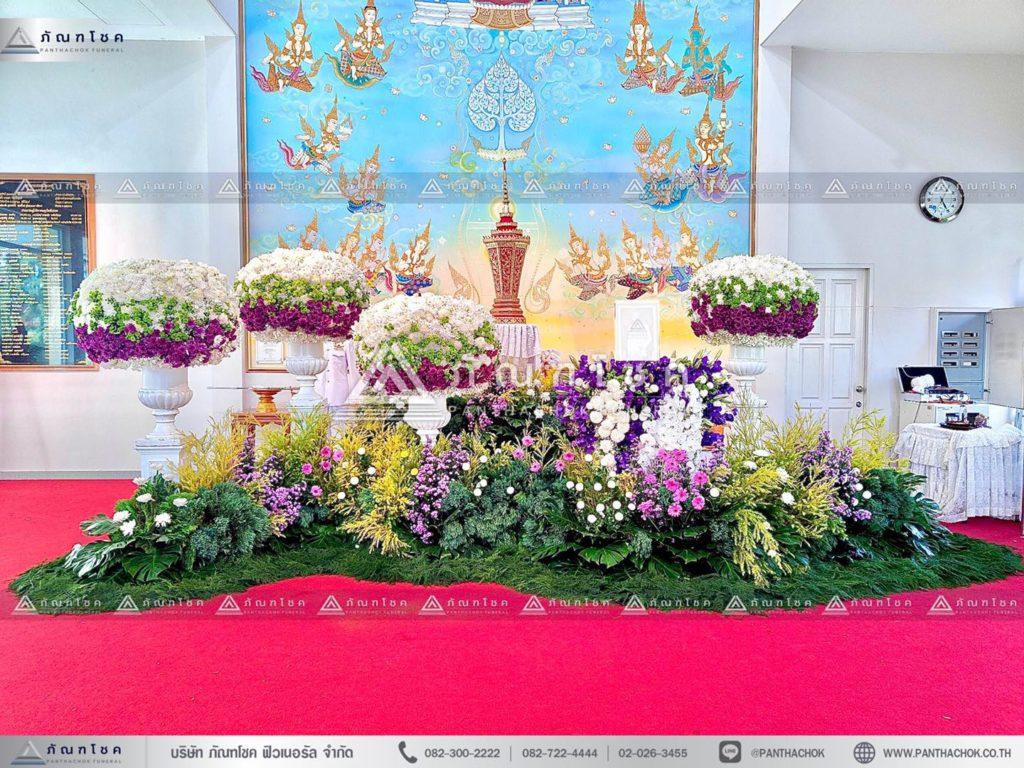 ดอกไม้หน้าโกศใส่อัฐิแบบโมเดิร์น พร้อมจัดสวนประดับงานศพ จัดดอกไม้งานศพโทนสีม่วง 12