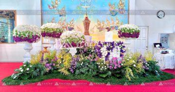 ดอกไม้หน้าโกศใส่อัฐิแบบโมเดิร์น พร้อมจัดสวนประดับงานศพ จัดดอกไม้งานศพโทนสีม่วง 7