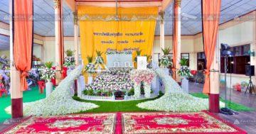 ดอกไม้งานศพนกยูงพร้อมสวน รับจัดงานศพอยุธยา ดอกไม้หน้าศพอยุธยา