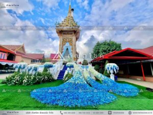 ดอกไม้หน้าเมรุอยุธยา ดอกไม้สดหน้าศพสีขาวฟ้า ดอกไม้งานศพนกยูง รับจัดงานศพหรูหรา ดอกไม้หน้าศพสั่งทำพิเศษ