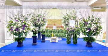 ดอกไม้หน้าหีบพระราชทานแบบทันสมัย จัดสวนสไตล์โมเดิร์นในงานศ 1